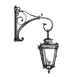 Hand drawing old street lamp vector