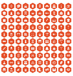 100 needlework icons hexagon orange vector