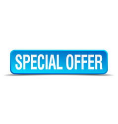 Special offer blue 3d realistic square isolated vector