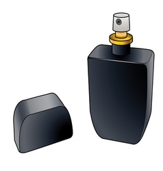 Black cologne spray bottle vector