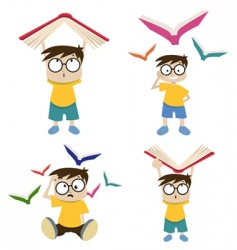 Cartoon boy with book vector