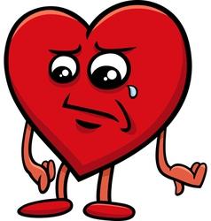 sad heart cartoon character vector image