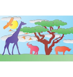 paper animals in africa vector image