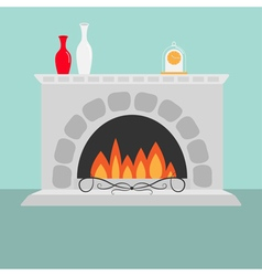 Fireplace with fire vase set and clock flat design vector