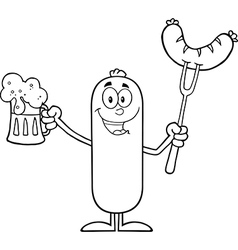 Happy sausage cartoon with a pint of beer vector