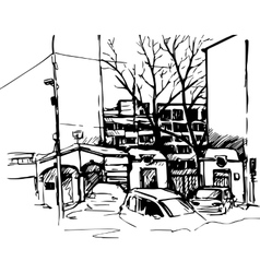Hand drawn urban sketch vector
