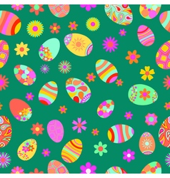 Seamless pattern of flowers and easter eggs vector