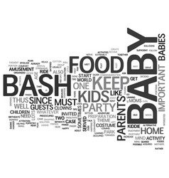 Babybash text word cloud concept vector