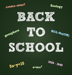 Back to school typography on a green board vector