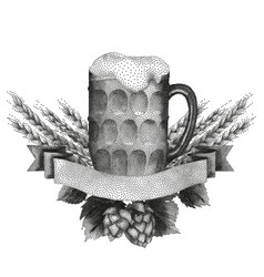 Beer design in stippling technique vector