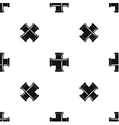 black pipe fitting pattern seamless black vector image