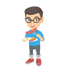 boy eating sausage and fried egg for breakfast vector image
