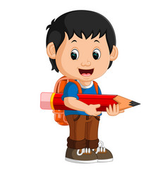 Boy with backpacks cartoon vector