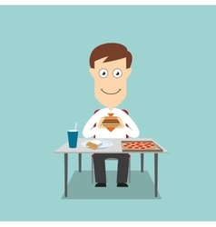 Businessman having fast food lunch vector