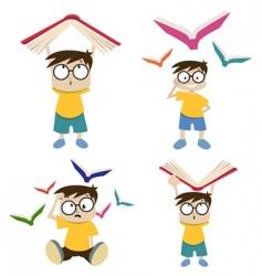cartoon boy with book vector image
