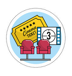 Cinema seats with tickets and film countdown vector