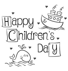 Collection style children day hand draw vector