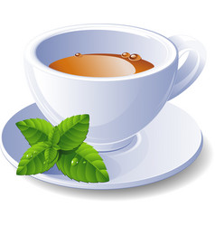 cup of tea with mint vector image vector image