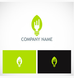 fork light bulb food company logo vector image