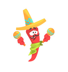 funny cartoon red pepper character wearing vector image vector image