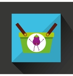 Green basket market and cheerful eggplant vector