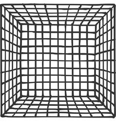 Hand drawn square futuristic room with subdivision vector