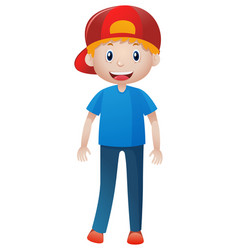 happy man wearing red cap vector image