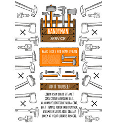 home repair tool banner with toolbox vector image vector image