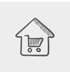 House shopping sketch icon vector