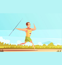 Javelin thrower outdoor composition vector