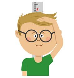 Little nerd boy measuring height himself vector