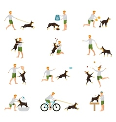 Man dog training playing pet stick vector