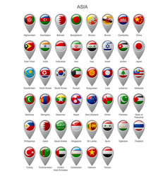 Map marker set with flags of asia vector