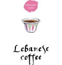 Mediterranean lebanese coffee cup vector