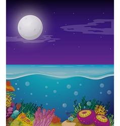 Nature scene with fullmoon over the ocean vector
