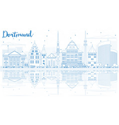 Outline dortmund skyline with blue buildings and vector