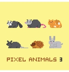 Pixel art style animals cartoon set 3 vector