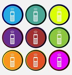 remote control icon sign Nine multi colored round vector image