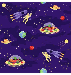 Seamless baby pattern space travel vector