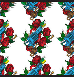 Seamless pattern a gun and roses on a white vector