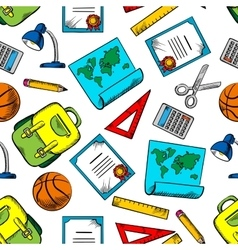 Seamless pattern of school and education supplies vector image vector image