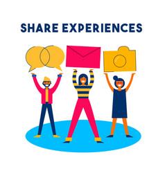 Share online content social media network concept vector
