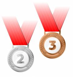silver and bronze medals vector image