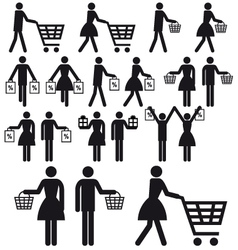 shopping people icon set vector image