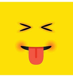 Eyes closed tongue out square emoji vector