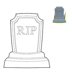 Tomb coloring book old gravestone in linear style vector