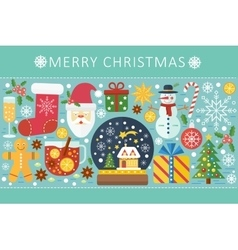 Elegant color flat christmas and happy new vector