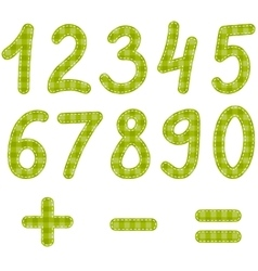 Green textured numbers from zero to nine vector