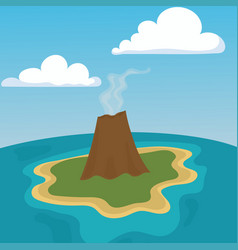 mountain volcano eruption lava nature landscape vector image