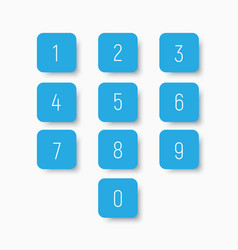 Set of blue buttons with numbers from 0 to 9 vector